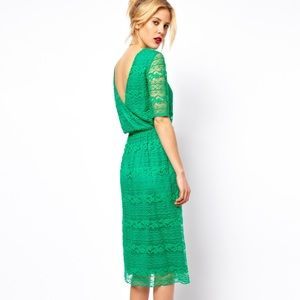 ASOS Midi Dress In Lace With Wrap Back - Green
